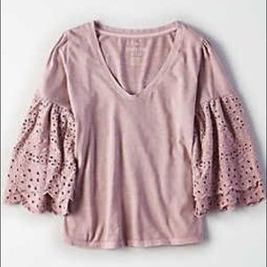 American Eagle Eyelet Sleeve Top